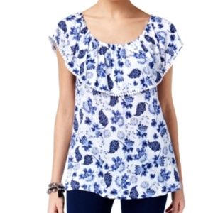 INC On or Off Shoulder Top Ruffle White Floral